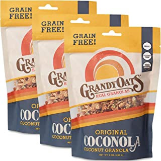 GrandyOats Grain Free Granola   Original Coconola   Certified Organic, Gluten Free, Paleo, Dairy Free, Low Sugar, Low Carb, & Kosher   9oz bags (Pack of 3)