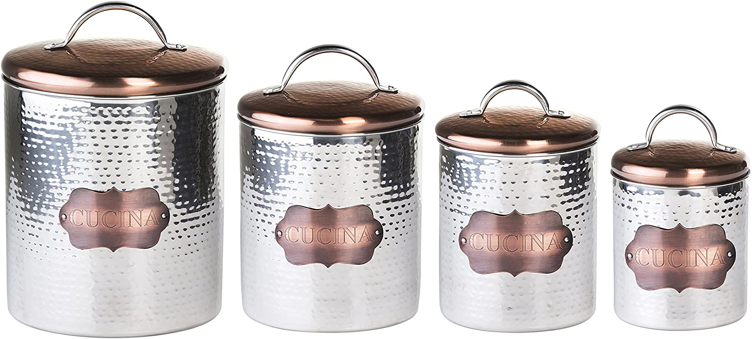 Global Amici Cucina Hammered Metal Canisters (Set of 4), Stainless Steel