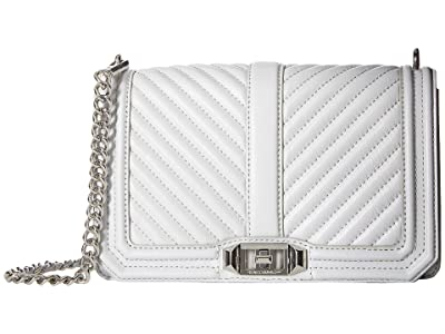 Rebecca Minkoff Chevron Quilted Love Crossbody (Ice Grey) Cross Body Handbags