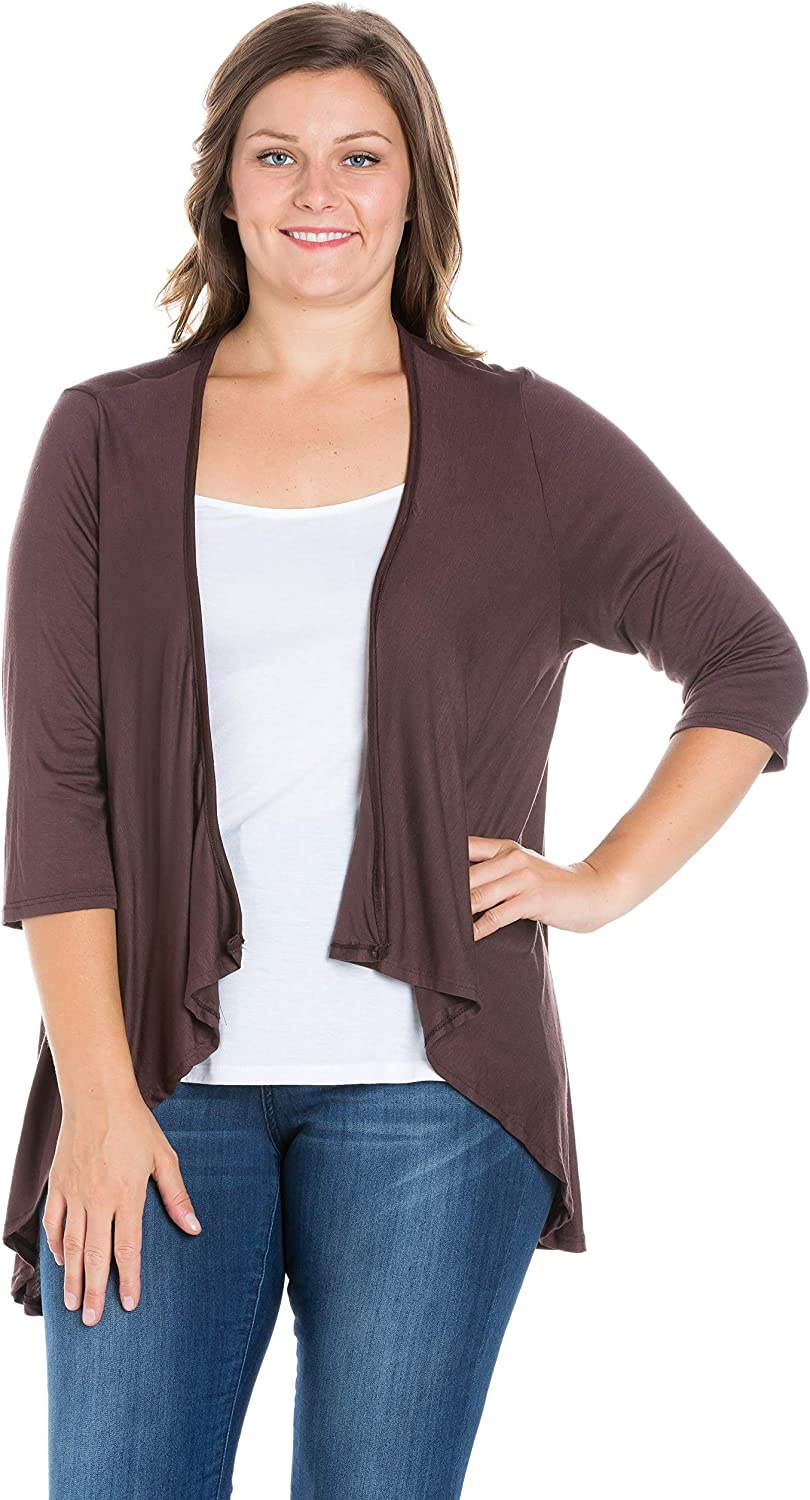24seven Comfort Apparel Women's Plus Size 3/4 Sleeve Draped Open Short High Low Cardigan - Made in USA - (Sizes 1XL-3XL)