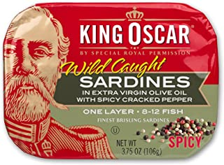 King Oscar Wild Caught Sardines in Extra Virgin Olive Oil, Spicy Cracked Pepper, 3.75 Ounce (Pack of 12)