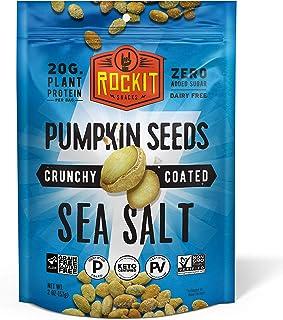 Rockit Snacks Gluten Free Vegan Protein Pumpkin Seeds | Crunchy and Savory Roasted Pumpkin Seed Vegan Snacks with 100% Pla...