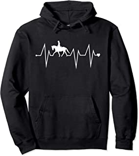 Funny Dressage Horse Riding Heartbeat Heart Pulse Rate EKG Pullover Hoodie