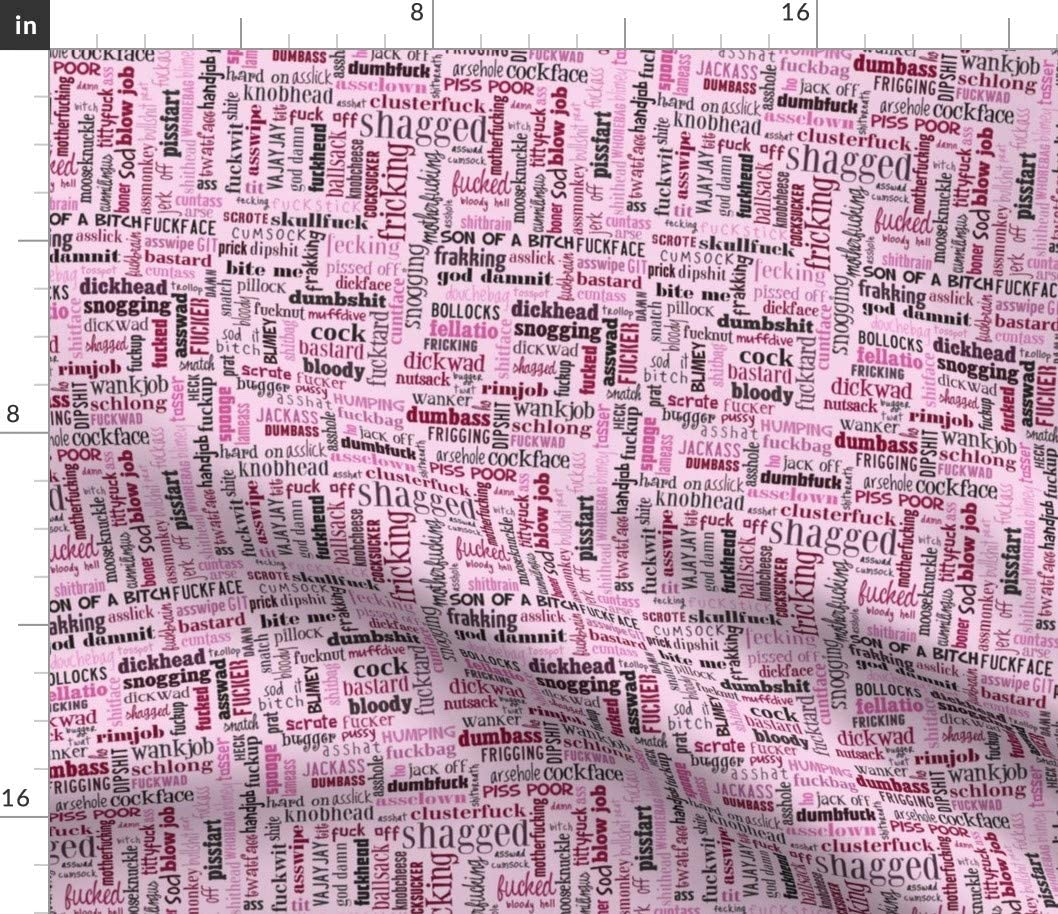 Spoonflower Today's only Fabric - NSFW Words Uphol Printed on Pink Max 63% OFF Typography