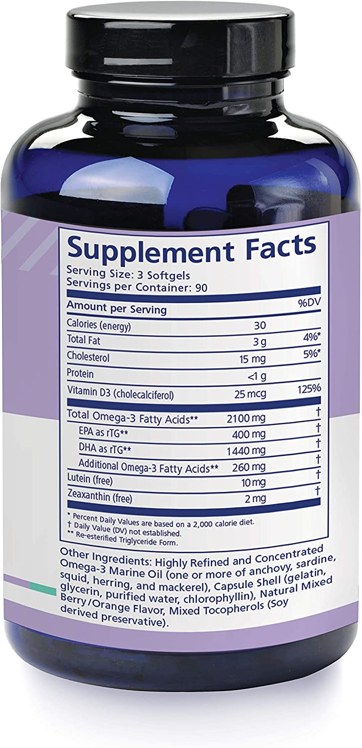 PRN nūmaqula Omega-3 - High DHA Supplement (1400mg of DHA & 400mg of EPA) in The Triglyceride Form - for Macula & Retina Support | 3 Month Supply
