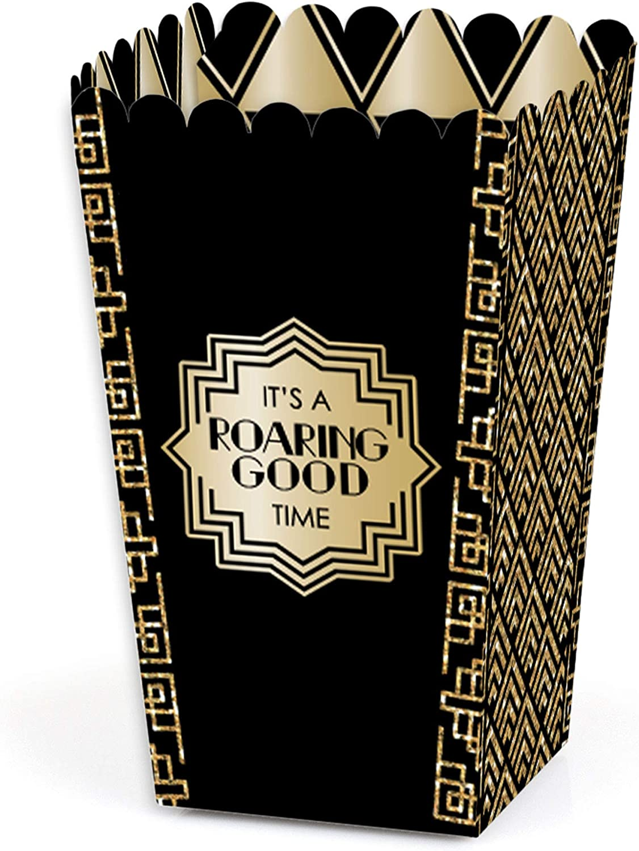 Big Dot of Happiness Roaring 20's - 1920s Art Deco Jazz Party Favor Popcorn Treat Boxes - Set of 12