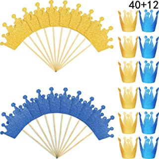 52 Pieces Glitter Crown Cupcake Toppers Gold Crown Picks with Elastic Ties Paper Mini Crown Hat for Birthday Wedding Party Supplies (Style 1)