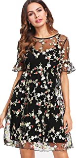 SheIn Women's Short Sleeve Embroidered Mesh Dress with Cami Slip
