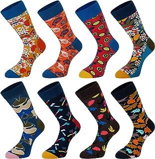 78a3bada8654 Empino Men's Fun Dress Socks – Colorful Funky Patterned Socks – Novelty  Casual Cotton Crew Socks
