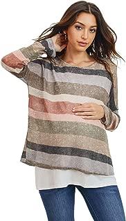HELLO MIZ Women's Maternity Nursing Tunic Knit Top (Multi Stripe/Ivory, M)