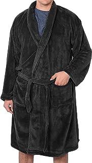 F/_Gotal Mens Big and Tall Full Length Long Bathrobe House Coat Pajamas Lengthened Coralline Plush Shawl Bathrobe Robe