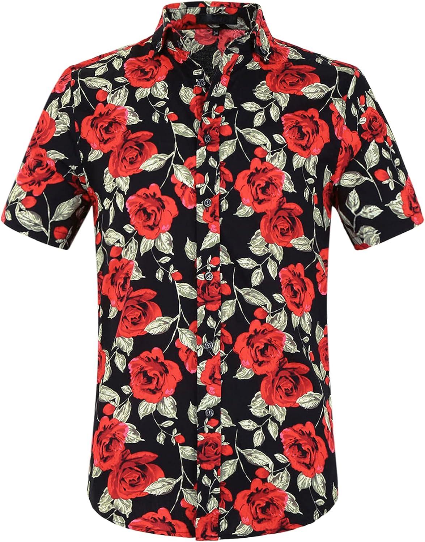 uxcell Men's Summer Floral Print Short Sleeve Button Down Beach Hawaiian Casual Shirt