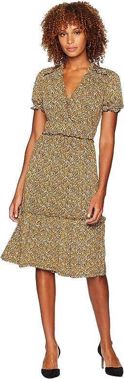 Glam V-Neck Ruffle Smock Dress