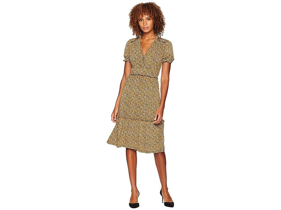 MICHAEL Michael Kors Glam V-Neck Ruffle Smock Dress (Black/Marigold) Women