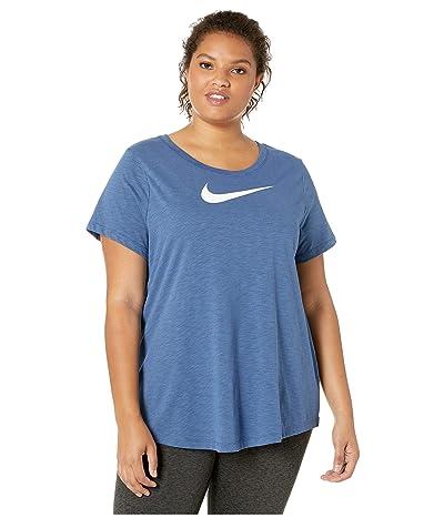 Nike Dry Swoosh Tee (Sizes 1X-3X) (Mystic Navy/Heather/White) Women