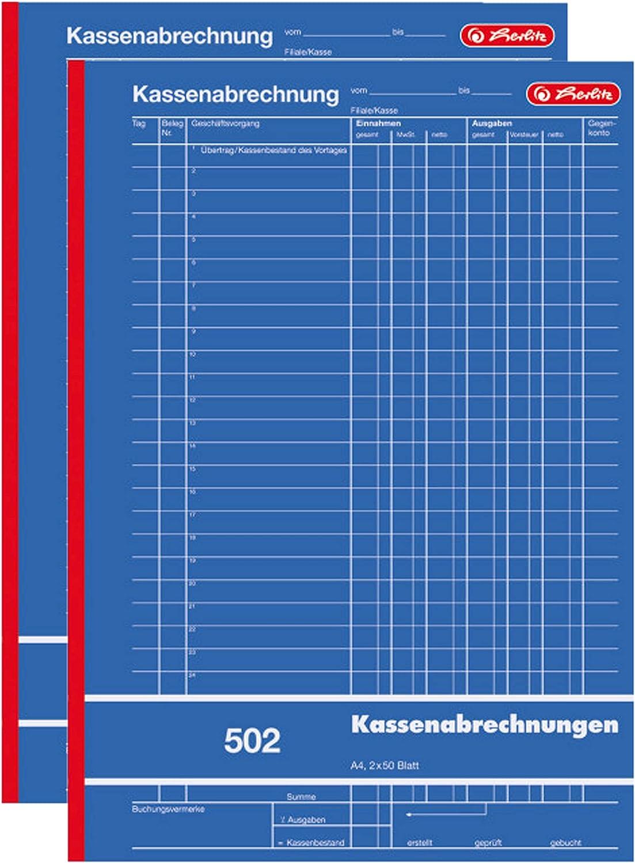 2x Zweckform 427 Kassenabrechnung A4 2x 50 Blatt mit Durchschlag Kassenbücher