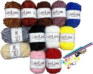 LovLim Crochet Yarn kit, 12 Chenille Yarn Skeins for Crochet and Knitting, Free Crochet/Amigurumi Patterns, 1200+ Yards Cr...
