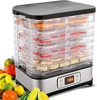 Hopekings Déshydrateur Alimentaire 8 Plateaux, Déshydrateur Fruits et Légumes 400W avec Thermostat Réglable, LCD, Argent