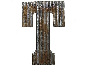 Farmhouse Rustic 24'' Wall Decor Corrugated Metal Letter T