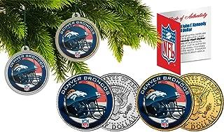Licensed Denver Broncos NFL Christmas Tree Ornament Colorized 24KT Gold JFK Half Dollar 2 Coin Set! W/H COA!