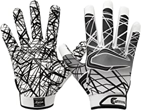 Cutters Game Day Football Glove, Silicone Grip Receiver Glove, Youth & Adult Sizes, 1 Pair