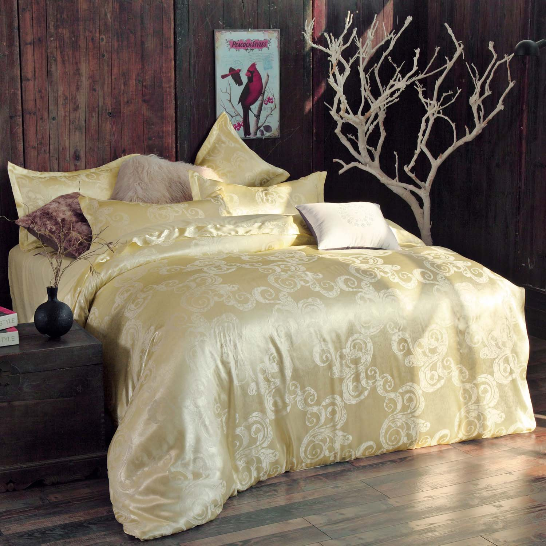 Xanlenss Xuan Lanshiトリビュートシルクコットンジャガードシーツ4ピースヨーロピアンコートサテン寝具セット(1.8 mベッド(掛け布団カバー220 * 240)、Ferrero-beige)