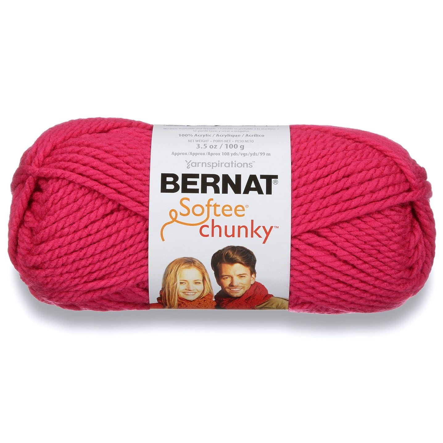 Bernat Softee Chunky Yarn, 3.5 Oz, Gauge 6 Super Bulky, Hot Pink