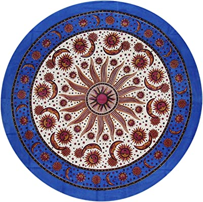 India Arts Mediterranean Style Round Cotton Tablecloth 88 Blue and Green