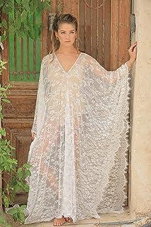 Soft Lace Caftan Dress, Beach Dress, Bridal Kaftan Dress, Large Size(check sizes in my shop)