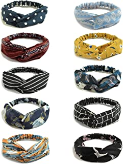 10 Pack Women's Headbands Boho Flower Printing Twisted Criss Cross Elastic Hair Band Accessories