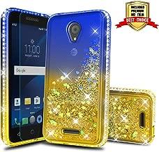 Alcatel IdealXcite/Verso/CameoX/Xcite Version 5044r Case Girly Cases, Atump Fun Glitter Liquid Sparkle Diamond Cute TPU Silicone Protective Phone Cover Case for Alcatel 5044R Blue/Yellow