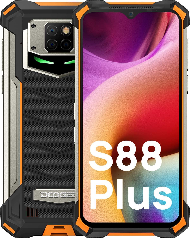 DOOGEE S88 Plus (Official) Rugged Smartphone Unlocked,10000mAh Battery 48MP Triple Camera Waterproof Smartphone, 8GB + 128GB Android 10.0 IP68/IP69K Unlocked Cell Phone 4G 2021 (Orange)