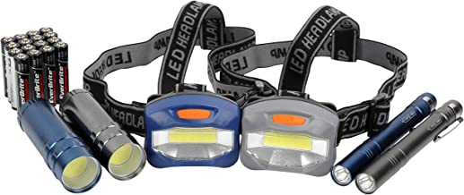 LED Flashlight, Penlight, & Headlamp Combo - Batteries Included