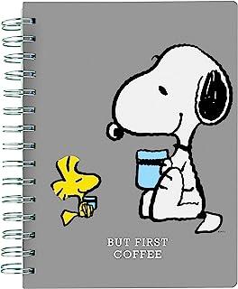 """Graphique Diário espiral de couro vegano, foco em Peanuts, citação """"Focus On The Good"""" na capa – perfeito para tomar nota..."""