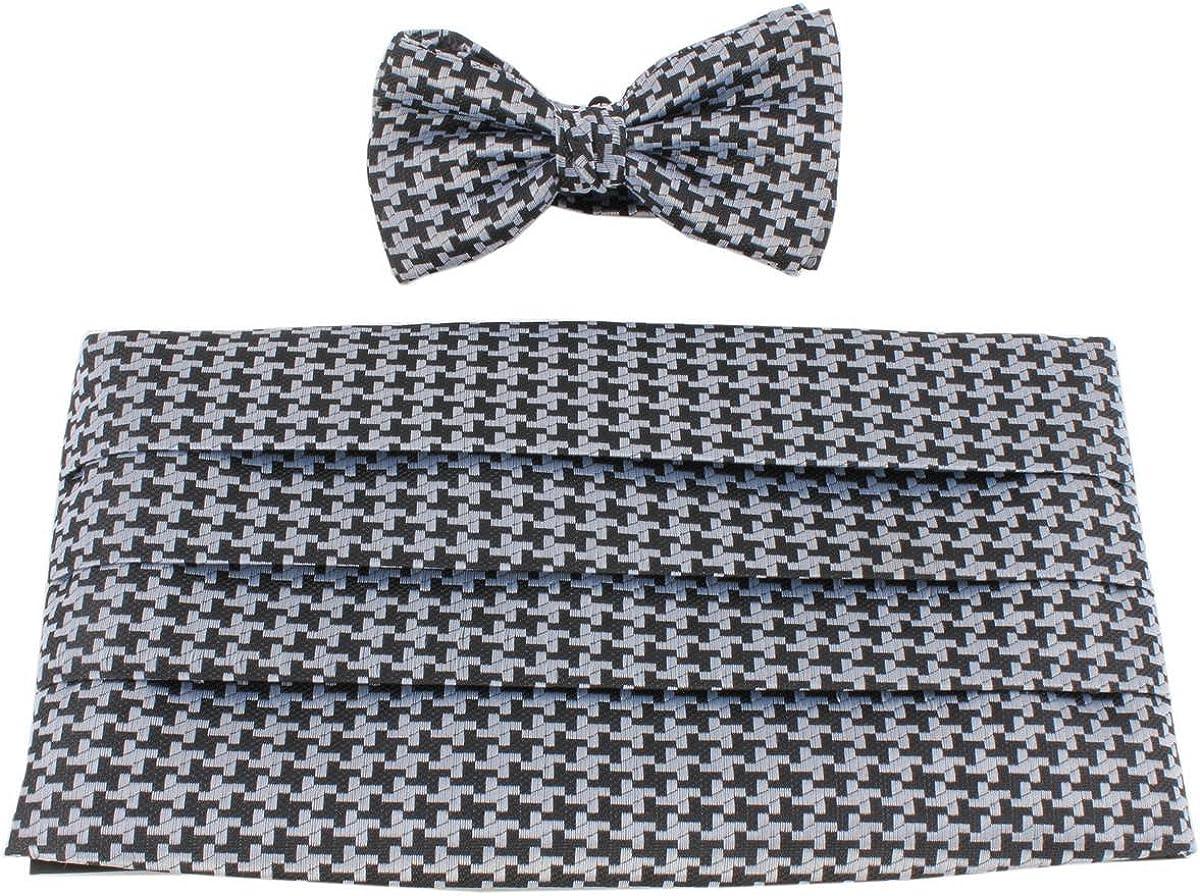 Knightsbridge Neckwear Mens Bow Tie and Cummerbund Set - Black/Grey