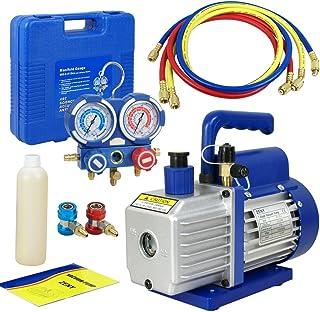 Smartxchoices 3.5 CFM Electric Single-Stage Rotary Vane Deep Vacuum Pump 1/4HP HVAC A/C Refrigeration Kit AC Manifold Gauge Bundle Kit R134a (3.5 CFM + Manifold Gauge)