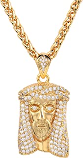 YYA Jewelry Mens Gold Chain Pendant Necklace Jesus Piece 18K Punk Medal Hip Hop 30