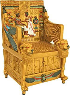 Design Toscano Egyptian Décor Trinket Box - King Tut`s Golden Throne Jewelry Box - Egyptian Statues