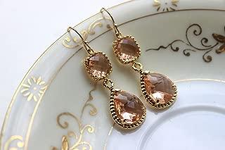 Champagne Earrings Peach Earrings Blush Earrings Pink Earrings - Blush Jewelry - Wedding Jewelry - Bridesmaid Jewelry Bridesmaid Earrings