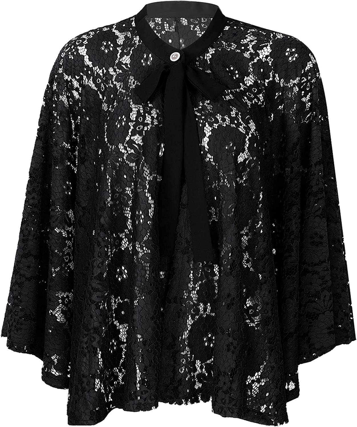 Choomomo Womens Dressy Shawl Wraps Loose Casual Hollow Lace Cape Cover Up for Wedding Evening Dress