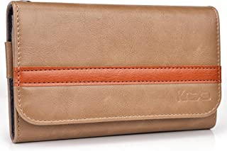 Kroo Men's Wallet Case Holster for Smartphone up to 5.1 Inch - Frustration-Free Packaging - Brown with Orange