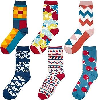 Comius Calcetines Estampados Hombre, Divertidos Patrones Interesantes Diseño Elegante Calcetines de Colores de Moda, Cómodo, Transpirable