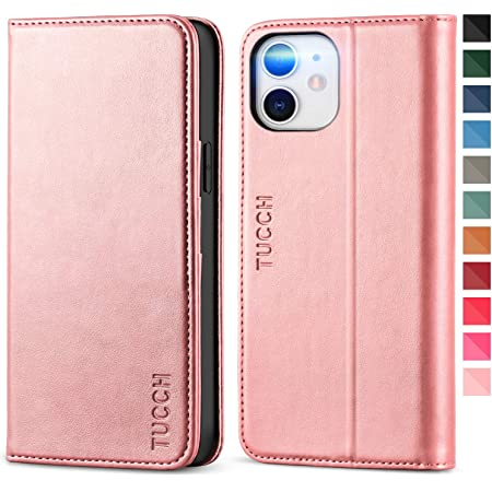 TUCCH Funda iPhone 12 Pro, Funda iPhone 12, Funda de Cuero PU con Cáscara de TPU, Ranura para Tarjeta, Soporte Plegable, Carcasa para iPhone 12 /iPhone 12 Pro 5G (6.1 Pulgadas 2020), Oro Rosa