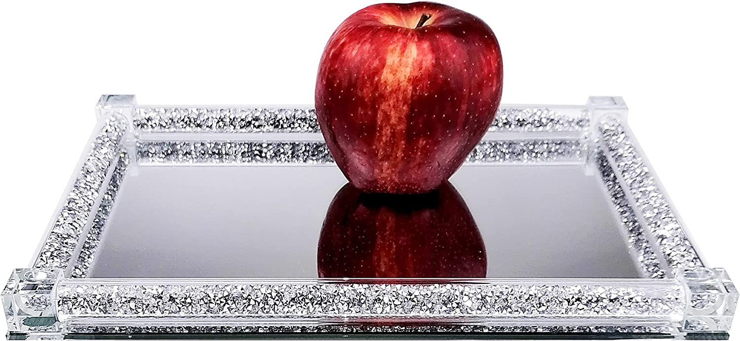 BANQLE Mirrored Crystal Vanity Tray - Sustainability Ornate Decorative Tray for Fruits,Home Decoration,Banquet Party Jewelry Lavish Home (Rectangle 7.87 x 11.8 inches, Silver)