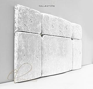 Lejoux™ Collection Sample - Cabecero de cama de lujo en terciopelo aplastado en cama individual, doble, king (blanco, 1,2 m (doble pequeño), 76 cm de alto)