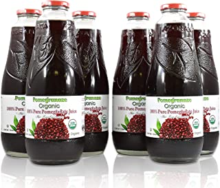 100% Pomegranate Juice - USDA Organic Certified - Glass Bottle (6 Pack)