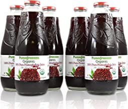 100% Pomegranate Juice - 6 Pack ,33.8Fl Oz - USDA Organic Certified - Glass Bottle - No Sugar Added - No Preservatives - Squeezed From Fresh Pomegranates