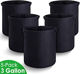 MAXSISUN 5-Pack 3 Gallon Plant Grow Bags, Heavy Duty Thickened Non-Woven Aeration Fabric Pots Container with Reinforced Handles for Gardening