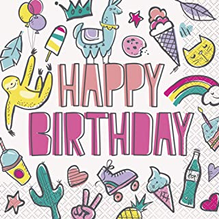 Unique Party 73202 - Favourite Things Birthday Paper Napkins, Pack of 16