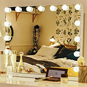 Vanity Mirror with Lights, E&D FURNITURE Makeup Mirror Lighted Vanity Smart Mirror with Dimmable Bulbs Hollywood Cosmetic Desk Mirror with 15 LED Bulbs Wall Mounted Makeup Mirror for Bathroom,Bedroom